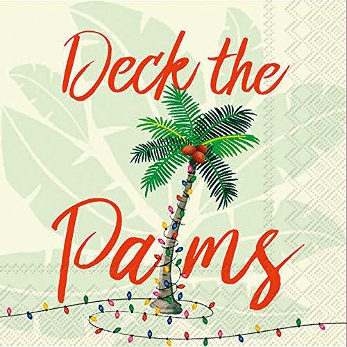 Coastal Christmas Decor Paper Christmas Napkins Cocktail Napkins, Beach Christmas Decor, Deck the Palms 5'x 5' Pak of 40
