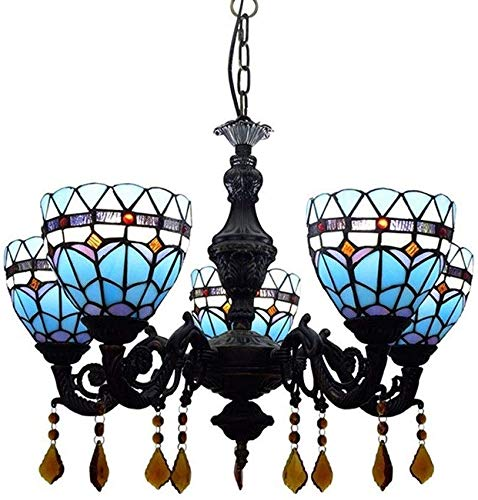 Europese Moderne Tiffany Stijl Kroonluchter Creatieve Glas in lood lampenkap Plafond Kroonluchter Woonkamer Slaapkamer Eetkamer Decoratie 5 Hoofden Kroonluchter