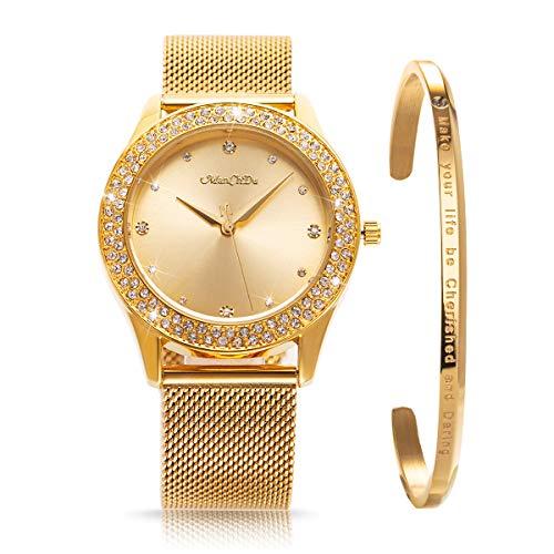 ManChDa Damen Armbanduhr Kristall Mesh Edelstahl Gürtel Damen Quarz Diamant Klassische Mode Romantisch + Schmuck Manschette Armband Set (Gold/Silber/Rosegold) (01.Gold)