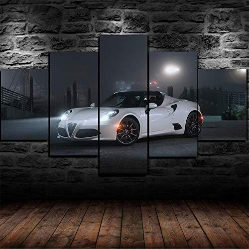 199Tdfc Puzzles Drucken Sie Auf Leinwand Gerahmte Alfa Romeo 4C Spider Auto Poster 5 Stück Leinwanddruck Wandkunst Dekor