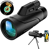 ikiu 12x50 HD Zoom Monocular Telescope+Luminous Compass+Tripod,16.5mm BAK4 Prism, Night Vision, for Smartphone Adults Kids Bird Watching Hunting Travel