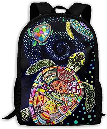School Bags,Adjustable Pack College Unisex Shoulder Book Bags Unisex Casual Colorful Floral Sea Turtle Vintage Oxford Travel Bag Laptop Bag Outdoor Dayback Kids Adult