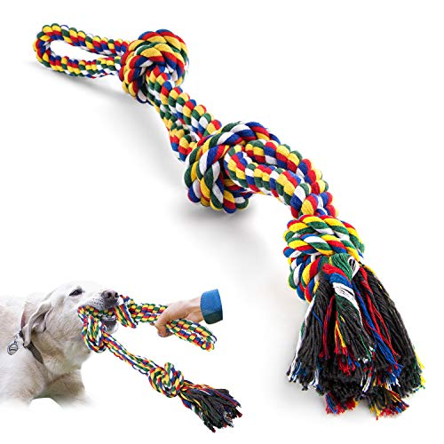 Jouet Chien Corde pour chiens grands et forts, Durable Jouet à macher chien 3 nœuds de corde pour mâcher agressifs, Jouet interactif chien cordes Nettoyage des dents pour chiens de grande taille