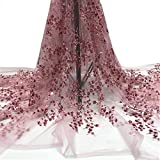 SequinsFabric Tulle Lace Fabrics with 3D Fashion Embroidery Beading forParty Dresses (Popular in Nigeria France Africa)(5 Yards) (Pink, 5 Yard x 50 Inch)
