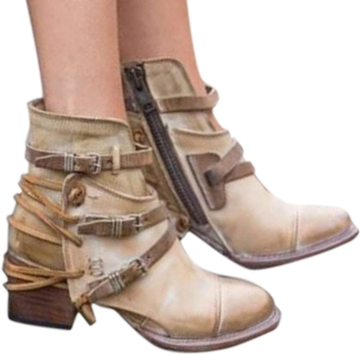 Vintage Ankle Boots for Women Platform Low Heels Female shoes Buckle Short Boot Spike Heels Round Toe Boot