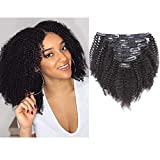 Anrosa Afro Kinky Clip ins Human Hair 1B Natural Black Afro Kinkys Curly Clip in Hair Extensions for Black Women 3C 4A Type Real Remy Hair Thick 120 Gram 10 Inch