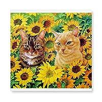 ひまわりと猫2 木製 額縁 フォトフレーム 壁掛け 木製 横縦兼用 絵を含む 40×40cm