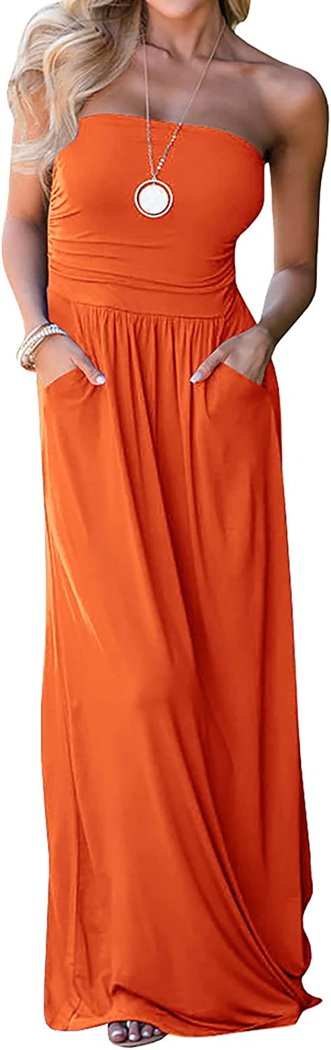 Ofenbuy Womens Off The Shoulder Maxi Dresses Summer Strapless Bandeau Long Dress with Pockets