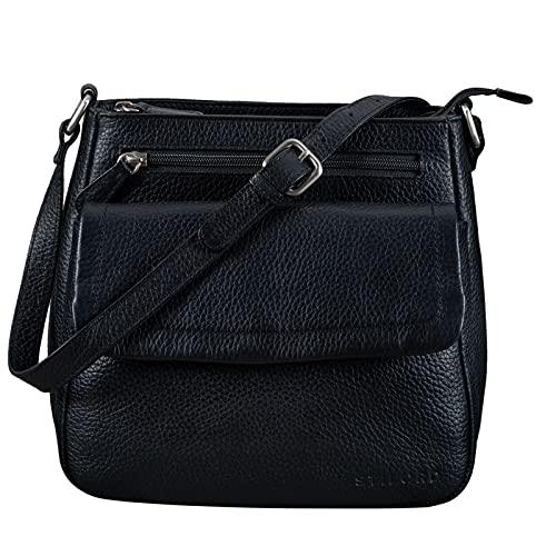 STILORD 'Jodie' Leder Umhängetasche Damen Vintage Handtasche Elegante Ledertasche Crossbody Bag Frauen Schultertasche Tasche Klein Echtleder, Farbe:schwarz