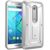 SupCase [Unicorn Beetle PRO Series for Motorola Moto X Style/Pure Edition 2015, [Heavy Duty] Belt Clip Holster Case with Built-in Screen Protector (White/Gray)