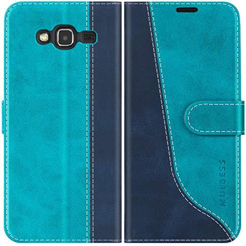 Mulbess Handyhülle für Samsung Galaxy J3 2016 Hülle, Handy Samsung Galaxy J3 2016 Hülle, Leder Flip Etui Handytasche Schutzhülle für Samsung Galaxy J3 Duos 2016 Hülle, Mint Blau