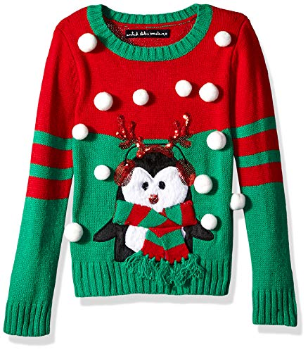 Blizzard Bay Girls Ugly Chrismas Sweater, red/Green/Penguin, XL-16