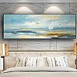 QWESFX Paisaje Abstracto Natural del Barco Pintura de la Lona Pinturas del Gato sobre Lienzo Pinturas Set Lienzo estirado para Pinturas para dormitorios (Imprimir sin Marco) A4 50x100CM
