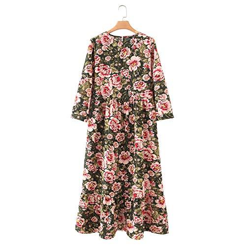 NOBRAND vestido maxi plisado manga tres cuartos mujer
