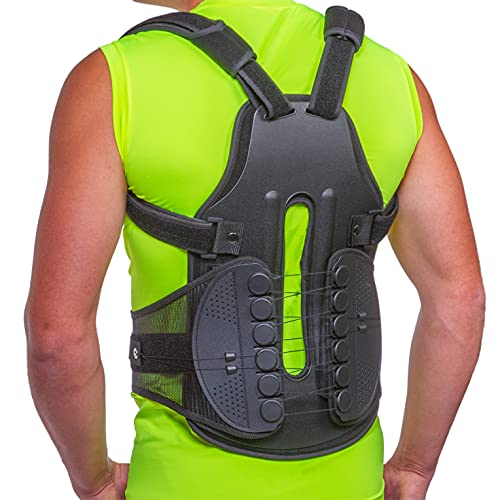 BraceAbility TLSO Full-Body Back Brace Support - Hard Turtle Shell Jacket for Thoracic Kyphosis, Parkinson's Disease, Fractured Spine, Scoliosis, Postural Correction, Post-Surgery Recovery (Large)