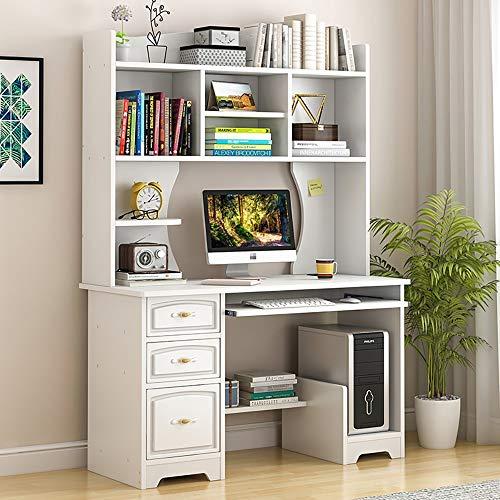 QinWenYan Computertisch Moderne Studie Tisch Schlafzimmer Arbeitstisch Mit Bücherregal for Home Office für Das Home Office (Color : Beige, Size : 110x50x172cm)