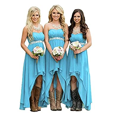 Fanciest Women' Strapless High Low Bridesmaid Dresses Wedding Party Gowns Blue US14