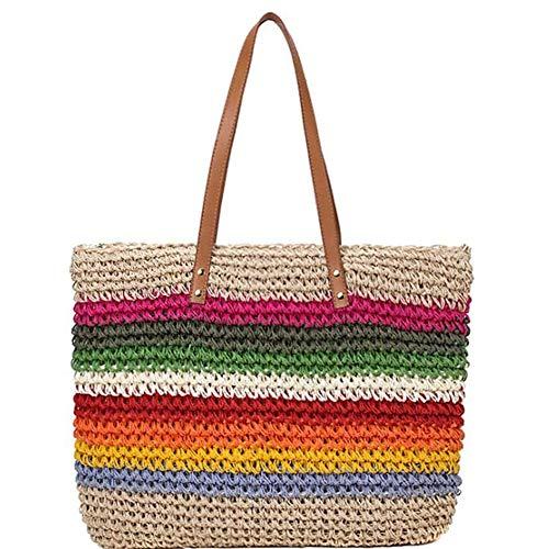 Kleurrijke regenboog dames handtas schoudertas schoudertas, zomer vintage strand stro schoudertas om te winkelen, wandelen, kamperen, Dating