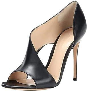 Minetom Élégant Chaussures à Talons Hauts Femme Bout Ouvert Soirée Parties Mariage Plateforme Cuir PU Sandales
