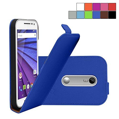 COOVY® Cover für Motorola Moto G (3. Generation Model 2015) Slim Flip Hülle Tasche Etui inklusive gratis Bildschirmschutzfolie | Farbe dunkelblau