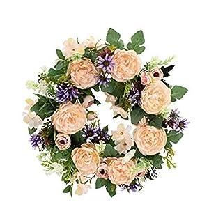 无 Wreath, Wreaths for Front Door, Artificial Rhododendrons Flower, Front Door Wreath for All Seasons Floral Door Wreath Hanging for Farmhouse Office Home Wedding Decor
