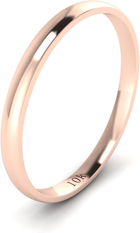 LANDA JEWEL Solid 10k White Rose Yellow Gold 2mm Light Court Shape Comfort Fit Polished Wedding Ring Plain Band