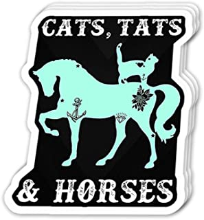 Uitee Store Cool Sticker (3 pcs/Pack,3x4 inch) Cats Tats and Horse Inspirational Quote Stickers for Water Bottles,Laptop,Phone,Teachers,Hydro Flasks,Car