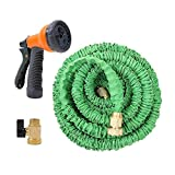 Ohuhu 50ft Garden Hose, All New 50 Feet Expandable Water Hose with 3/4 Solid Brass Fittings & 8 Function High Pressure Spray Nozzle, Flexible Expanding Hose Extra Strength Fabric (50 FT)