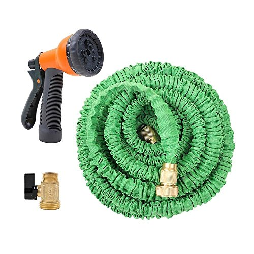 Ohuhu 50ft Garden Hose, All New 50 Feet Expandable Water Hose with 3/4 Solid Brass Fittings & 8...