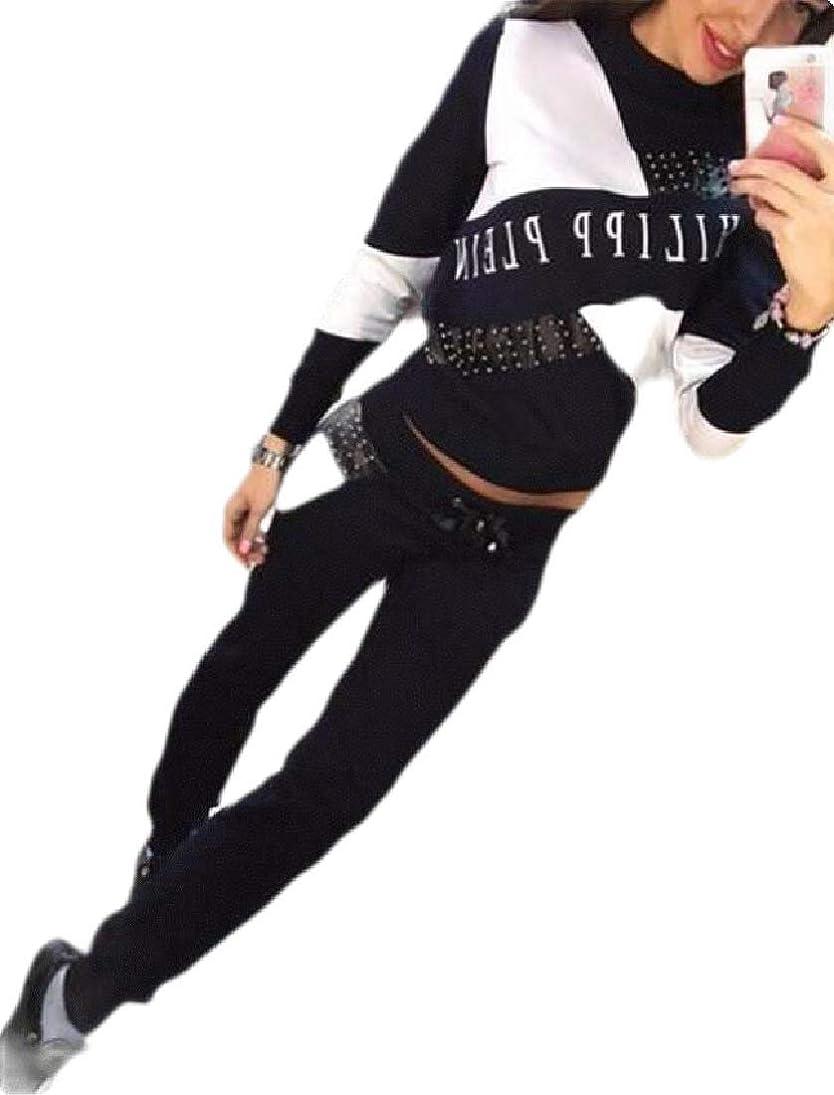 配置バンクコンプライアンスWomen's Casual Crewneck Long Sleeve Sweatshirt and Pants Running Tracksuit