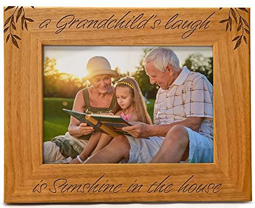 Cedar Crate Market Bilderrahmen aus Naturholz, für Großeltern im Querformat 12,7 x 17,8 cm A Grandchild's Laugh is Sunshine in The House Erle