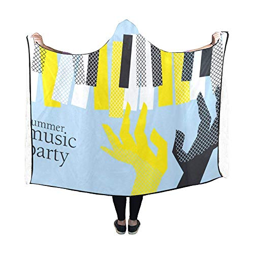 Darlene Ackerman(n) Hooded Blanket Piano und Piano Keyboard Patterns Wearable Throw Blanket Comfotable Hooded Blanket Adult 60x50inch