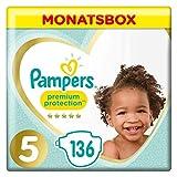 Pampers Premium Protection Windeln, Gr. 5, 11-16kg, Monatsbox (1 x 136 Windeln), Pampers Weichster Komfort Und Schutz