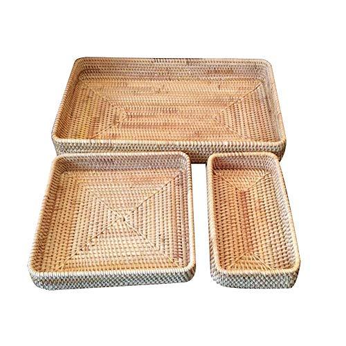 Cesta de mimbre tejida para frutas, bandeja de almacenamiento de alimentos, soporte de cuenco organizador de cocina, bandeja rectangular para servir para escritorio 3 piezas/set