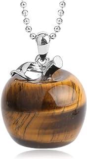 GHGFH Halskette Mit Anhänger Aus Natursteinen,Natürlicher Tiger Eye Stone Apple Anhänger Ping An Stone Silberkette Mode Weihnachtsschmuck Geschenke Jubiläum Geburtstagsgeschenk Für Ihre Frau Mädchen