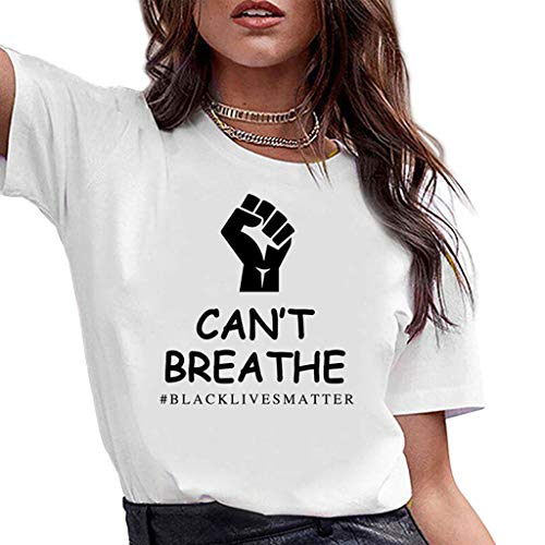 I Cant Breathe Cuello Redondo Casual de algodón de Manga Corta Camiseta con Estampado alfabético de Mujer Moda Streetwear La Vida es Importante Tops al por Mayor Blanco S-3XL