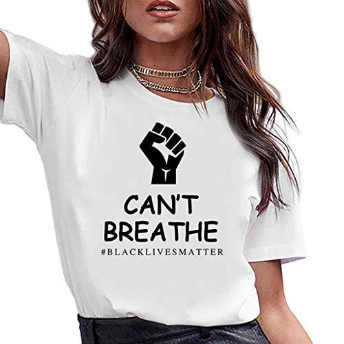 ZXMDP I Cant Breathe Cuello Redondo Casual de algodón de Manga Corta Camiseta con Estampado alfabético de Mujer Moda Streetwear La Vida es Importante Tops al por Mayor Blanco S-3XL