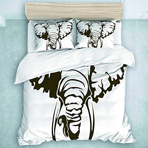 SUHOM Bedding Juego de Funda de Edredón,Elefante Africano Grande Tatuaje Dumbo Orejas Colmillos,Microfibra (Cama 200x200 + Almohada 50X80),Double