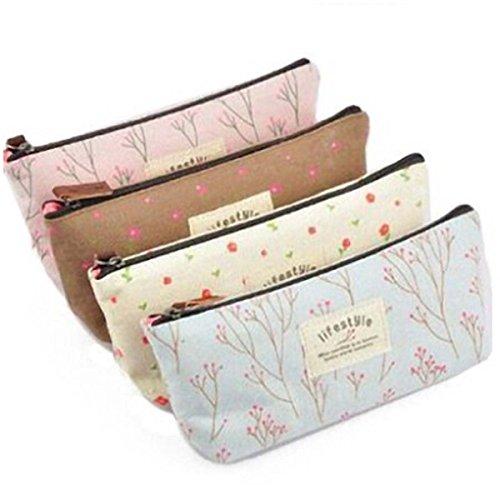 LIFECART 4pcs Multifunctional Canvas Pen Bag Pencil Case Makeup Tool Bag Storage Pouch Purse by LIFECART