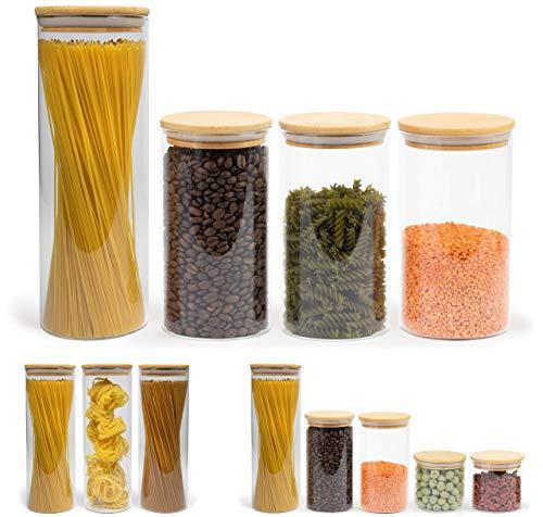 Elwin Neiles® ☀️ Vorratsglas mit Deckel [4er Set] - 100% luftdichte & stapelbare Glasbehälter - mottensichere Gläser - Vorratsdosen Glas