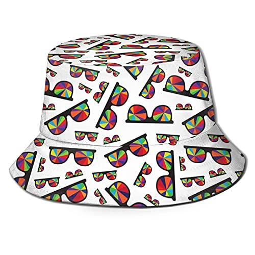 AOOEDM Gafas de Sol Redondas Arte Colorido Unisex Estampado Sombrero de Pescador Sombreros de Pescador Sombrero de Pesca Gorra Plegable Reversible de Verano Mujeres Hombres Sombrero para el Sol al a