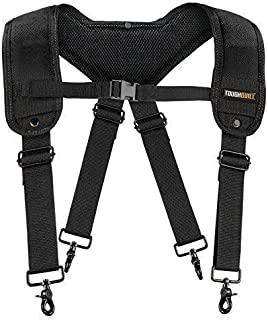 Toughbuilt Padded Suspenders for Tool Belt Even Weight Distribution