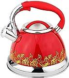 LNHJZ Hervidor de Agua para Acampar de Acero Inoxidable con Mango Plegable Teatop de silbido liviano con Pico Tradicional/Retro para encimera o Estufa, 3L, Morado, Rojo