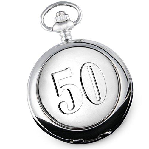 """Taschenuhr zum 50. Geburtstag von De Walden, für Herren, hochwertiges Geschenk in Geschenkbox mit Seide, geprägte """"50"""" auf der Vorderseite"""