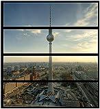 Wallario Möbelfolie/Aufkleber, geeignet für IKEA Malm Kommode - Fernsehturm Berlin mit Panoramablick über die Stadt mit 4 Schubfächern