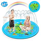 68'' Splash Pad Sprinkler for Kids Kiddie Wading Swimming Pool Outdoor Summer Water Toys Splash Pool for Big Kids Fun Yard Fountain Play Mat for Boys Girls