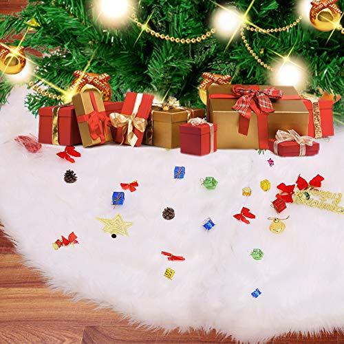 Christmas Tree Skirt , 60 Inches white Tree Skirt , Large Snow White Christmas Tree Skirts , Plush Skirt Faux Fur Christmas Tree Skirt for Christmas Holiday Tree Ornaments