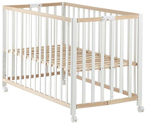roba Lit pliant 'Fold Up', bicolore, 60x120cm, lit bébé à barreaux en hêtre organique naturel/blanc, réglable sur 3 hauteurs, avec roulettes.