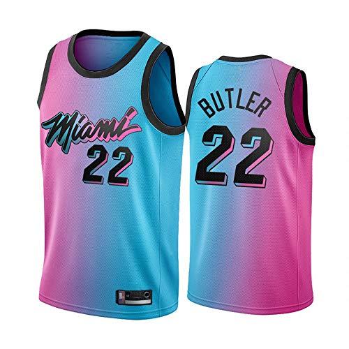Hombre Miami Heat # 22 Jimmy Butler NBA 21 Temporada Nueva Edición Jersey Bordado # Malla Sin Mangas Sueltas, Cuello Redondo Sports Jersey,Blue Pink,S(165~170cm)