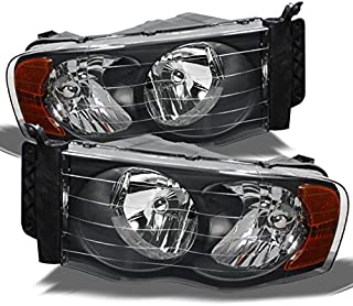 For 2002-2005 Dodge Ram OE Replacement Black Headlights Driver+Passenger HeadLamps Pair LH+RH